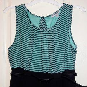 Shelby & Palmer Dresses - Mint/Black Strip Dress